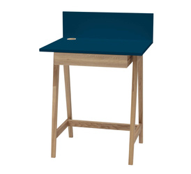 LUKA Ashwood Writing Desk 65x50cm with Drawer / Petrol Blue