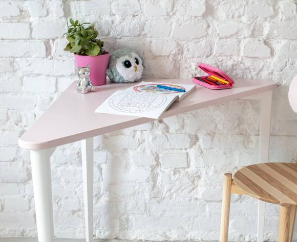 NAJA Corner Desk W114 x L85 x H75cm White Legs Dusky Pink