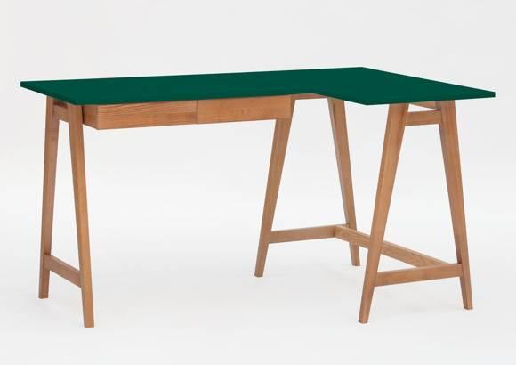 LUKA Corner Desk W 135cm x D 85cm / Bottle Green Oak Right Side