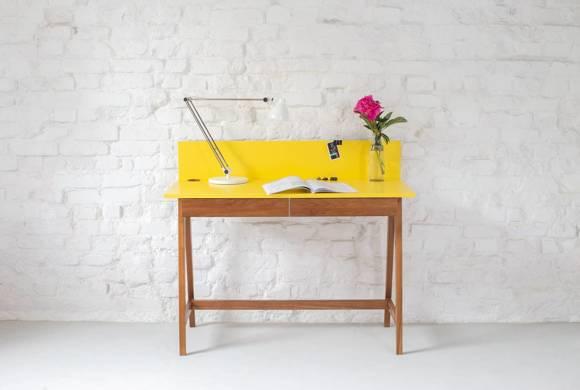LUKA Writing Desk 110x50cm with Drawer Oak / Dusky Pink