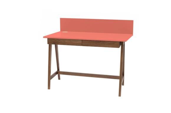 LUKA Writing Desk 110x50cm with Drawer Oak / Living Coral