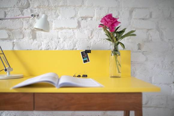 LUKA Writing Desk 110x50cm with Drawer Oak / Petrol Blue