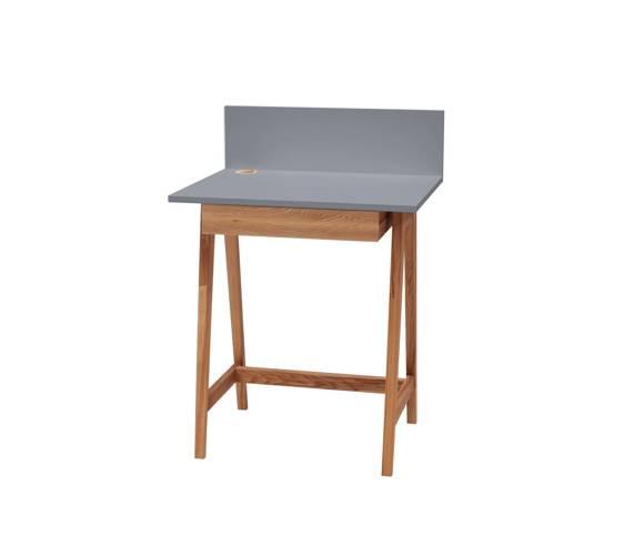 LUKA Writing Desk 65x50cm with Drawer Oak / Dark Grey