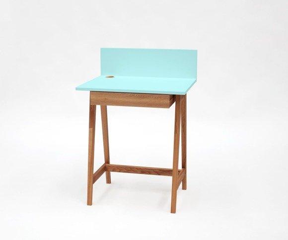 LUKA Writing Desk 65x50cm with Drawer Oak / Light Turquoise