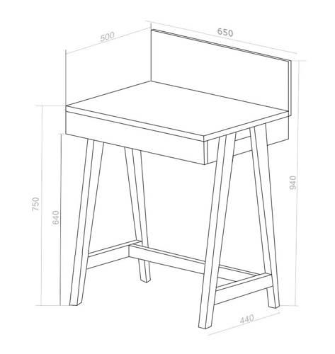 LUKA Writing Desk 65x50cm with Drawer Oak / White