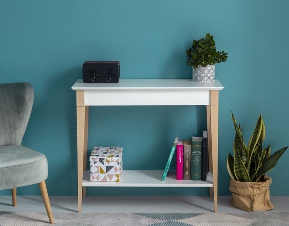 MIMO Console Table with Shelf 85x35cm - White