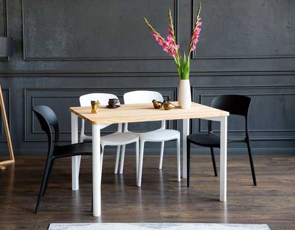 TRIVENTI Ashwood Dining Table 120x80cm - White Round Legs