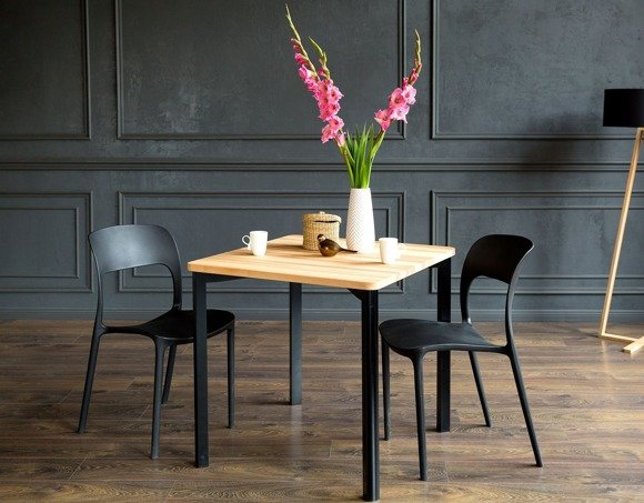 TRIVENTI Ashwood Dining Table 80x80cm - Black Round Legs