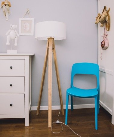 WANDA Ashwood Floor Lamp 45x140cm - White Lampshade / Transparent