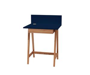 LUKA Schreibtisch 65x50cm mit Schublade Eiche / Benzinblau