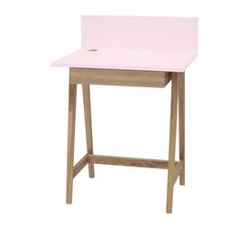 Luka Eschenholz Schreibtisch 65x50cm mit Schublade / Rosa