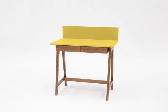 LUKA Schreibtisch 85x50cm mit Schublade Eiche / Gelb
