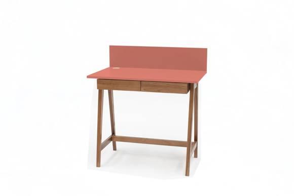 LUKA Schreibtisch 85x50cm mit Schublade Eiche / Koralle