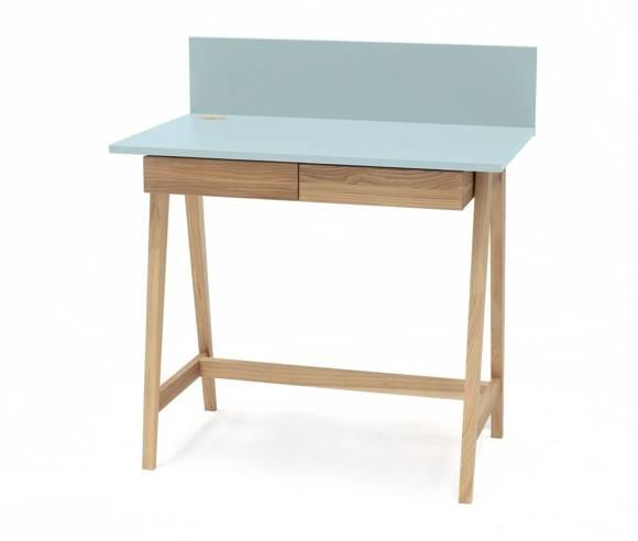 Luka Eschenholz Schreibtisch 85x50cm mit Schublade / Helles Türkis