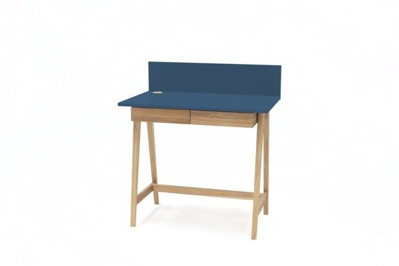 Luka Eschenholz Schreibtisch 85x50cm mit Schublade / Petrol Blue