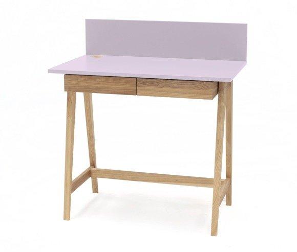 Luka Eschenholz Schreibtisch 85x50cm mit Schublade / Rosa