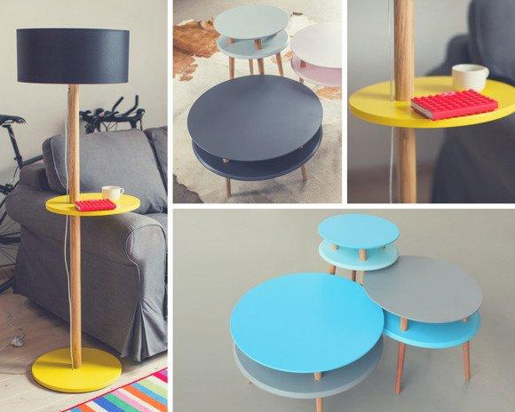 UFO Set: Couchtisch + Beistelltisch + Stehlampe