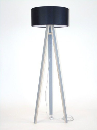 WANDA  Stehlampe 45x140cm - Grau / Schwarz Lampenschirm