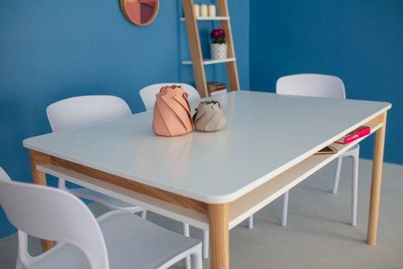 ZEEN Ausziehbarer Tisch mit Regal 200x90x75cm - Weiß