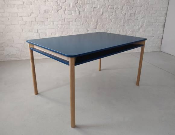 ZEEN Esstisch mit Regal 140x90x75cm Eschenholz Petrol Blue